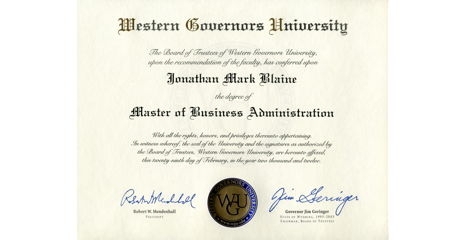 Western Governors University MBA