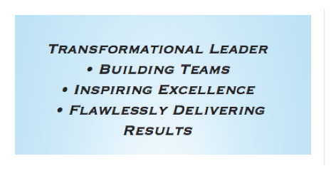 Transformational Leader building teams inspiring excellence flawlessly delivering results